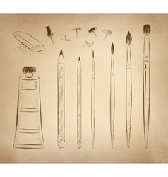 Artistic hand drawn set vector