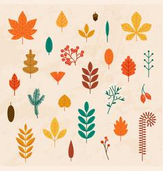 Autumn leaves set flat design modern concept vector