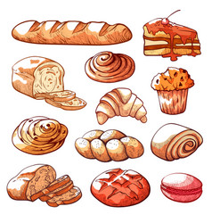 bakery and pastry products hand drawn set vector image