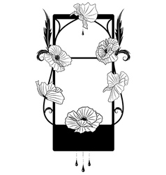 Black poppy frame vector