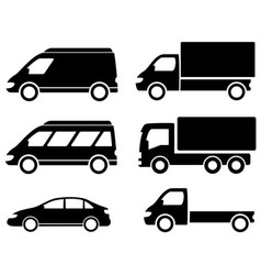 black set transport icons vector image
