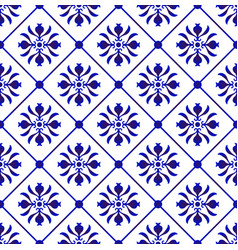 blue and white tile pattern vector image
