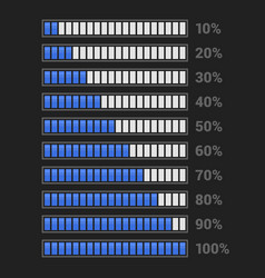 blue progress bar set on dark background vector image
