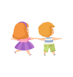 Boy and girl standing holding hands cute kids vector