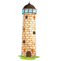 brick tower with torches and windows vector image