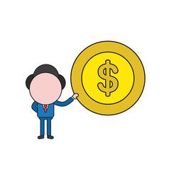 Businessman character holding dollar money coin vector