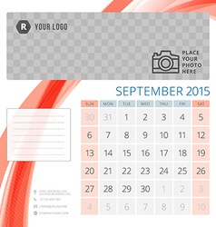 Calendar 2015 September template with place for vector