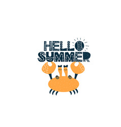 Card with lettering hello summer with crab in vector