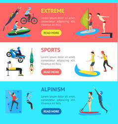 Cartoon extreme sports people banner horizontal vector