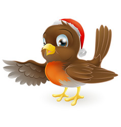 christmas robin bird pointing vector image