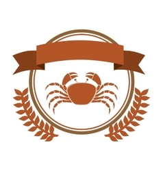 Circular border with crown branch with crab and vector