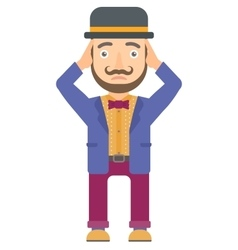 Circus actor clutching his head vector