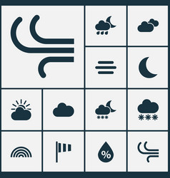 Climate icons set collection of snowy breeze vector