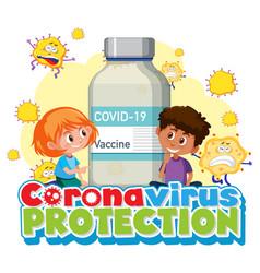 coronavirus protection with children cartoon vector image