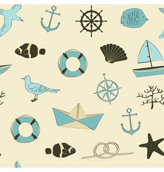 Cute nautical seamless vector