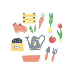 cute set gardening elements cartoon style vector image