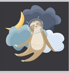 Cute sloth cosmonaut flying in the sky vector