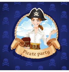Cute young pirate with treasures Banner for vector image