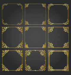 decorative gold frames and borders square set vector image
