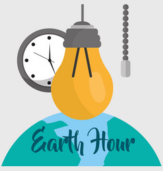 Earth hour cartoon vector