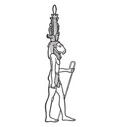 egyptian god chnemu vintage vector image