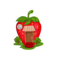 fairy house in form of red ripe strawberry and vector image
