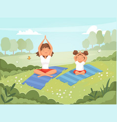 family yoga mother and daughter making exercises vector image