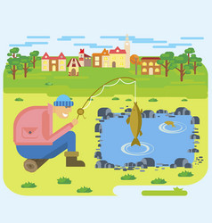 fishing on a lake vector image