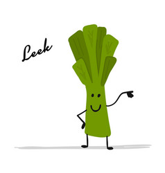 funny smiling leek character for your design vector image