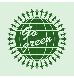 Go green logo circle template vector image
