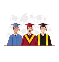 graduate men avatar character vector image