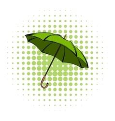 Green umbrella comics icon vector