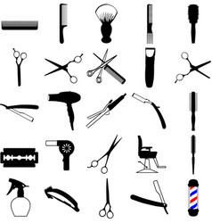 Hairdresser barber salon icons vector