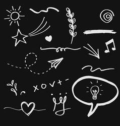 hand drawn set elements arrow heart love vector image