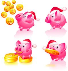Happy new years piggy bank vector