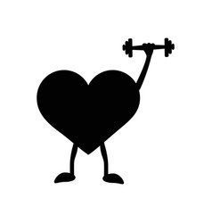 Heart with dumbbells in hand black silhouette vector
