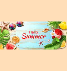 hello summer poster tropical fruits leaves vector image