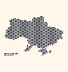 hexagonal halftone design ukraine map vector image