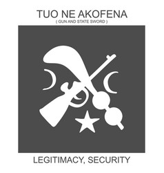 Icon with african adinkra symbol tuo ne akofena vector