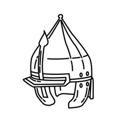 islamic war history helmet icon doodle hand drawn vector image