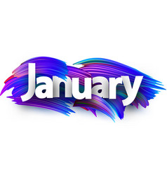 January banner with blue brush strokes vector