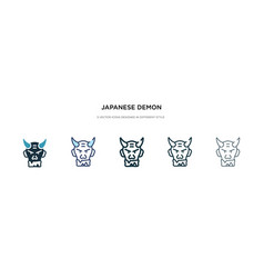 Japanese demon icon in different style two vector