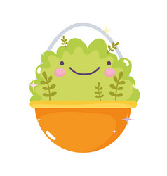 kawaii gardening cartoon plants bush in pot vector image
