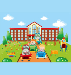 Kids driving cars to school vector