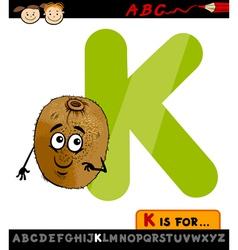 letter k with kiwi cartoon vector image