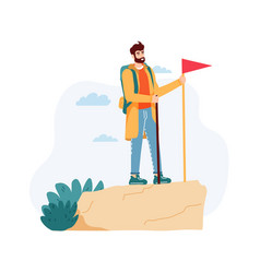 man having journey on nature standing on cliff vector image