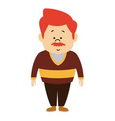 Man male cartoon standing senior person character vector