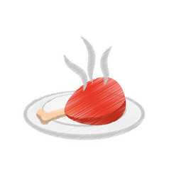Meat and dish food drawing vector