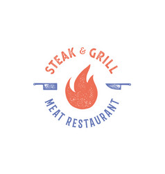meat logo logo for grill house restaurant with vector image