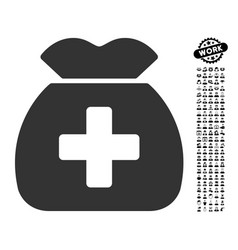 Medical capital fund icon with work bonus vector